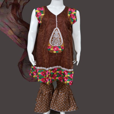 Brown Embroidered Net & Attle Frock 3 Piece Stitched Suit