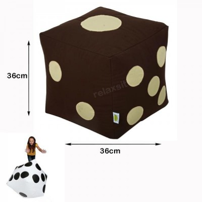 Ludo Dice Stool Bean Bag - Brown