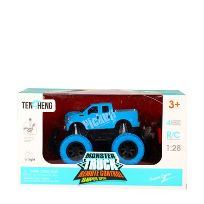 Remote Controlled Giant Blue Monster Truck (1:28 Scale) 4Wd 2.4 Ghz