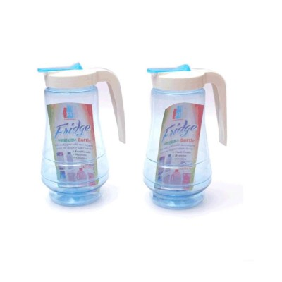 """Pack Of 2 Transparent Water Jug With Handle €"""" Plastic Blue"""