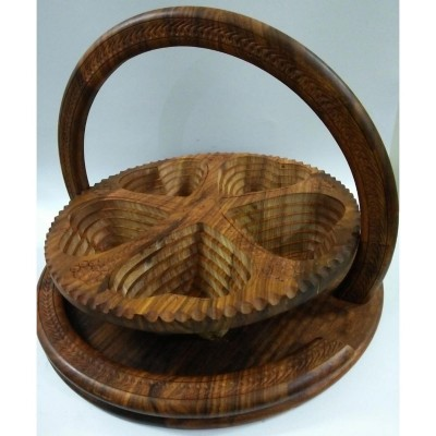 "14"" Large Wooden Dry Fruit Basket Antique Leaf Shape 5 Portion 100% Original"