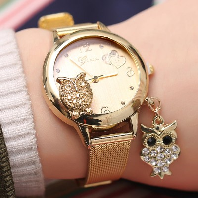 Owl Pendant Stainless Steel Mesh Belt Ladies Wrist Watch