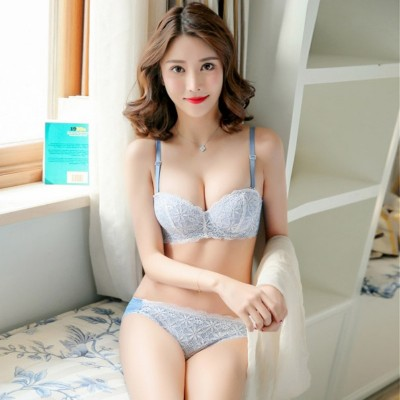 Blue Polyester Cotton Floral Embroidery Lace Push Up Bra Panty Set