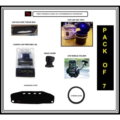 Every Pack Of 7 Car Accessories With Led Ash Tray & Car Mobile Holde