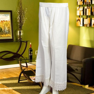 Off White Bell Bottom Trouser With Lace