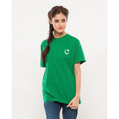 Green Independence Day Women Flag Print T-Shirt