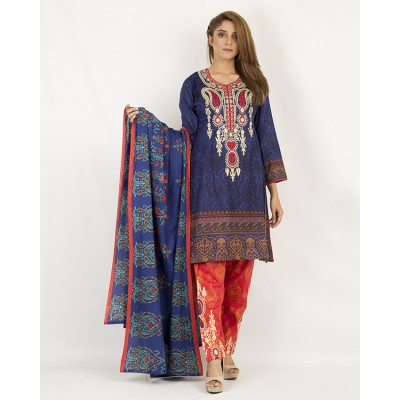 Blue And Red Floret Embroidery And Printed Lawn Un-Stitched Suit 3 Piece Lawn Suit With Lawn Dupatta For Women - Lawn Dress Collection