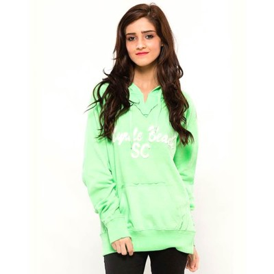Green  Embroided French Terry Hoddie For Women-WH-15