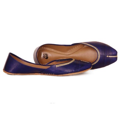 BLUE Leather Khussa