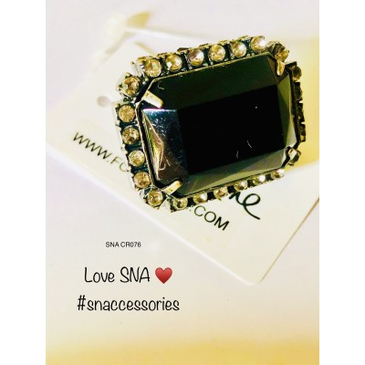 Forever21 Black Gem Stretch Ring (V.Big)