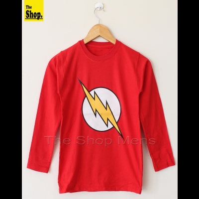 FLASH Long Sleeves Red T-Shirt For Men - LS-FRM1