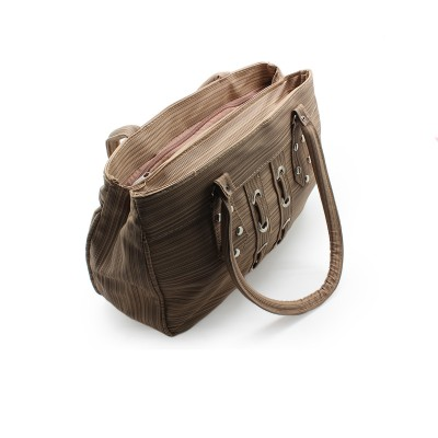 Unique taxture Design - Wooden Color -Stylish Artificial Leather Handbag For Women with Extra Design on Front - BG267