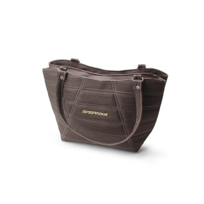 Atractive Design - Dark Brown Color -Stylish Artificial Leather Handbag For Women with Metallic Logo on Front - BG276