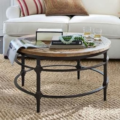 Parquet Reclaimed Wood Round Coffee Table Furniture