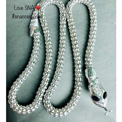 Snake Silver Chain (30 Inches Long) Necklace