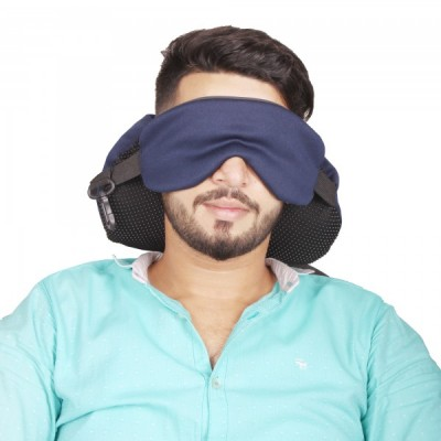 Travel Neck Pillow With Eye Mask 2 In 1 - Neck Support Cushion Dark Blue