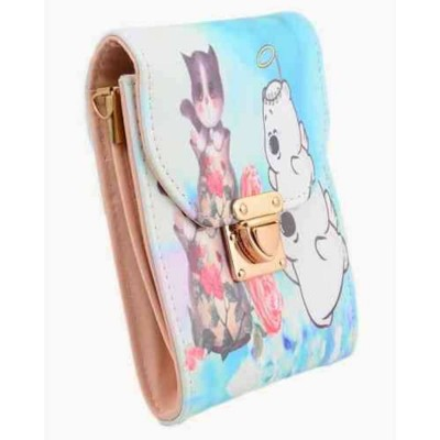 """Cartoon Clutch and Short Purse for Women With Long Chain - 5x7"""" - Neon"""