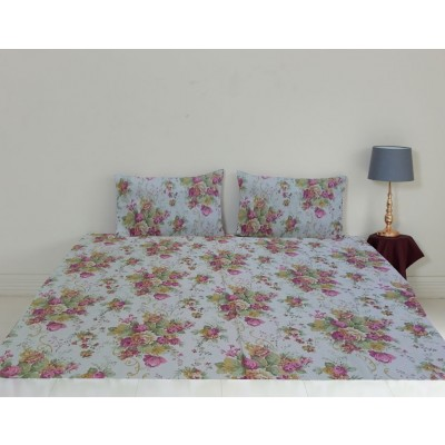 Queen Size Printed Bedsheet with Pillow Cases