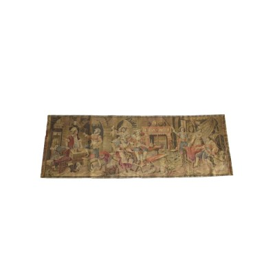 Belgian Tapestry Textile Art-Cavaliers at an Inn 19 x 55 inches