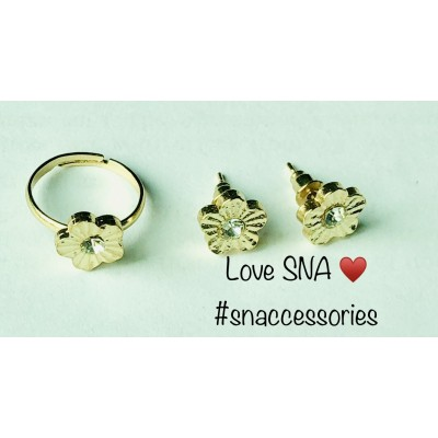Solid Flower With Stone Studs and Ring Set