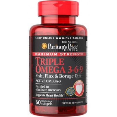 Puritan'S Pride Maximum Strength Triple Omega 3-6-9 Fish Flax & Borage Oils-60 Softgels