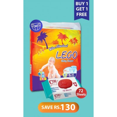 Lego Diaper Mega Pack Xtra Large 60 Pcs With Free Antibacterial And Cleansing Wipes