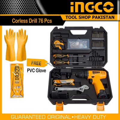 Ingco 76 Pcs Tool Set With Li-ion Cord lesss Drill 12V with extra Battery Pack