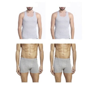 Pack of 4-Multicolor Cotton Boxer Shorts &  Inner Vest for Men-XL