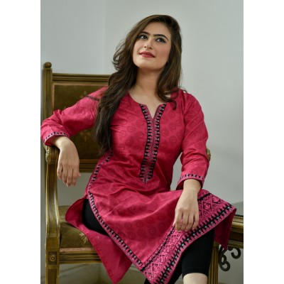 Pink Printed & Embroidered Cotton Stitched Kurti - C1-Pink