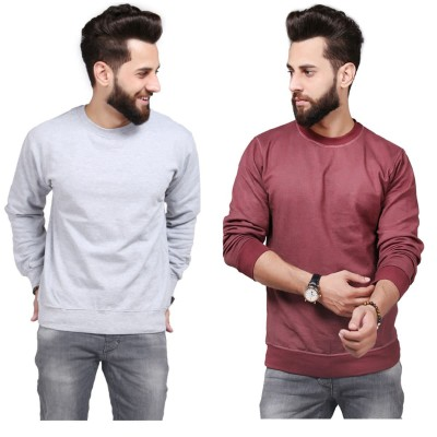 Dark Brown Grey Sweatshirt For Men