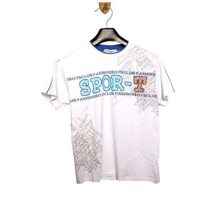Round Neck-Short Sleeve-Knit Fabric Lacra-Printed-Aplique-White-Boys T-Shirt