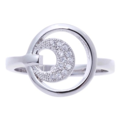 Silver Micro Pave Cubic Zirconia Metal Ring-UA786189PK