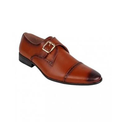 Brown Leather Buckle Style Formal Shoes