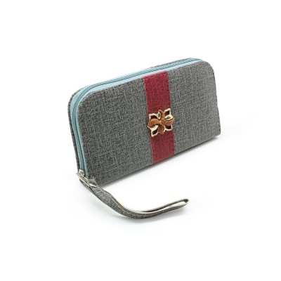 Flower Bunch On Front unique design - Casual Zipper Hand Clutch For Girls - Gray Color - BG287