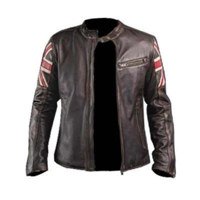 Brown Snuff Real Leather Regular Fit Jacket UK Flag Men