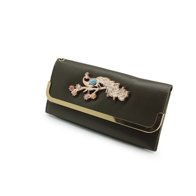 Casual Hand Clutch For Girls Also a Card Holder With Picock Bunch-Gray color - BG222