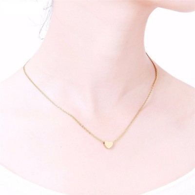 18k Gold Plating Tiny Heart Charm Necklace For Women