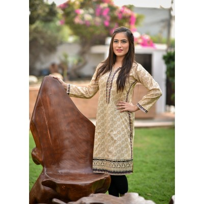 Fawn Printed & Embroidered Cotton Stitched Kurti - C1-Fawn