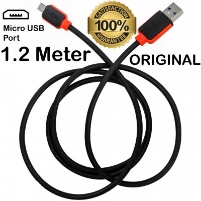 ORIGINAL 1.2 Meter Micro USB 3.0 Fast Charging + Data Cable For Android Phones - Black & Red