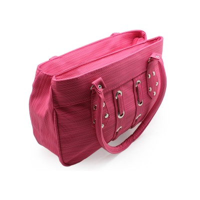 Unique taxture Design - Pink Color -Stylish Artificial Leather Handbag For Women with Extra Design on Front - BG268