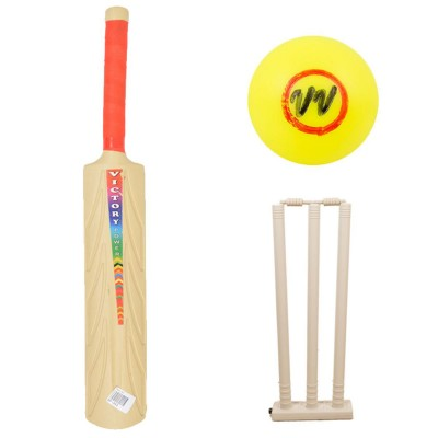 Set Of 3 Plastic Bat Plastic Ball & Plastic Wickets For 4-5 Year Kids
