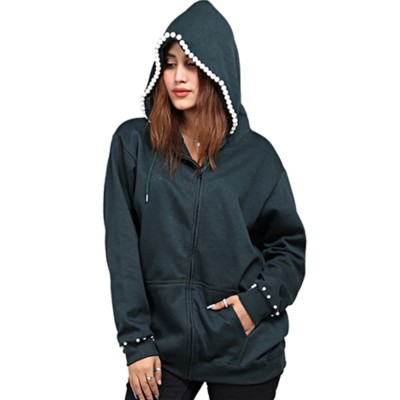 Deep Green Pearl Embellished Zipper Hoodie For Women