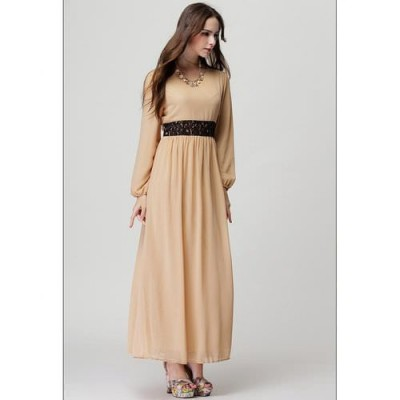 Beige Long Sleeve Chiffon Kaftan Floor Length Lace Dress