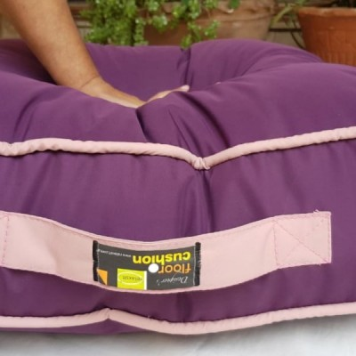 Rubber Coated Fabric Floor Cushion Floor Sitting Cushion Luxury Cushions 24 X 24 X 6 Inches Size - Purple