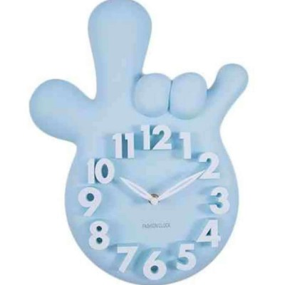 Mirror less Without Mirror Thumbs Up Victory Hand Wall Clock - Blue