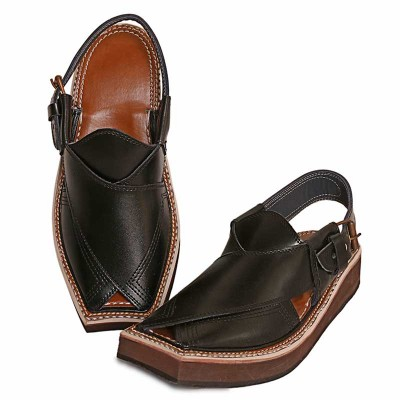 BLACK KAPTAAN CHAPPAL FOR MEN