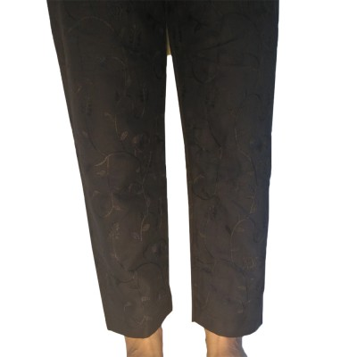 Full Embroided Trouser Pant - Cotton - For Her - Black - ZT83