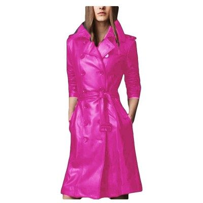 Pink Leather Long coat