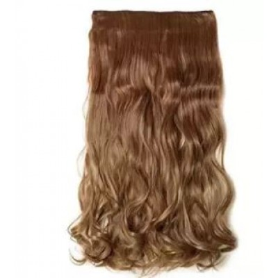 Hair Extensions Curly Wave Straight Blonde Brown Hair Extension 5 clips