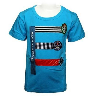 Round Neck-Short Sleeve- Knit Fabric Lacra-Printed-Light Blue Baby Boys T-Shirt